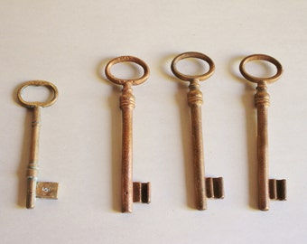 Vintage Set of Copper Skeleton Keys