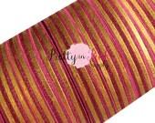 "Burgundy with Gold METALLIC Stripes Foil Print Elastic- Fold Over Elastic- FOE- Elastic by the Yard- Foldover Elastic- DIY- Hair ties- 5/8"""