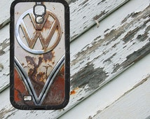 VW Rusted Bus Emblem on Samsung Galaxy S4 Black Rubber Silicone Case