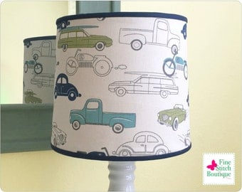 Felix Retro Rides Cylindrical BABY NURSERY LAMPSHADE - Vintage Cars Nursery Lampshade - Made-To-Order