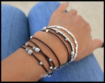 Boho LEATHER Wrap Bracelet - Beaded Leather Ropes Triple Wrap Adjustable Cascading Stackable Tibetan Bracelet - COLOR / SIZE  Usa - 785