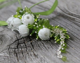 Lily of the valley lampwork Pendant, Lampwork beads Necklace, Handmade Glass beads lily of the Valley, Lampwork glass beads Flower Necklace