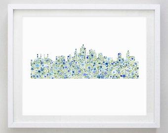 Kansas City Skyline Floral Watercolor Print