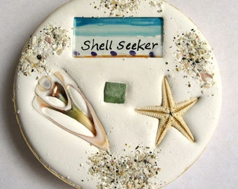 Beach coaster. Absorbent clay, starfish, shell and glass coaster for your boat or beach home.  FREE SHIPPING