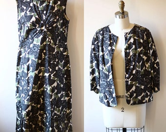 1960s black floral dress set // floral coat // vintage dress