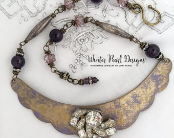 Etched Brass Art Deco Necklace Scalloped Collar Amethyst Gold Rhinestones Unique Handmade Design by WinterPearlDesigns
