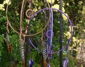 Bohemian gem, your choice of 3-D dreamcatcher mobile, handcrafted dreamcatcher, designer leathers,feathers,wool.
