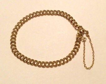 """7"""" Double Link 1/20 12 k g.f. Gold Filled Charm Bracelet Push Clasp Safety Chain - NEW OLD STOCK"""