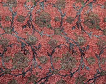 Coral Boston Vine Woven Floral Upholstery Fabric