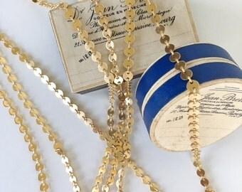 Pequeña moneda de oro, cadena del moneda de oro mate, de lujo cadena de cobre amarillo, 4mm, 4Ft