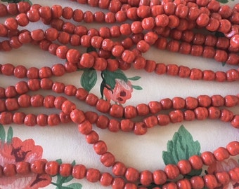 Vintage Glass Beads, Coral Glass Beads, 6mm, 100pcs