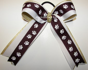 Bulldogs Ponytail Bow, Maroon White Gold Streamer Bow, Paw Print Ribbon Cheerbow, Cheer Bows, Softball Bows, Volleyball Bows, Soccer Bows