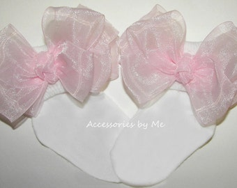 Frilly Pink Bow Socks, Organza Bows Trim Sock, Newborn Baby Girls Toddler Accessories, Dressy Fancy Occasion, Pageant, 1st First Birthday