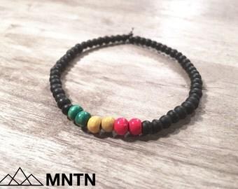 Rasta Men's Beaded Bracelet Matte Black, Red, Green & Yellow Beads