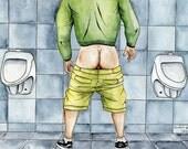 "PRINT of Original Artwork Watercolor Painting Male Portrait Gay ""Public toilet 1"""