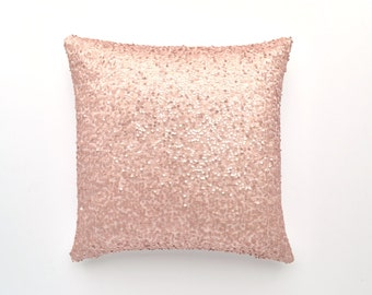 "20"" x 20"" - Sequin Pillow Cover - Light Blush- Decorative Pillow, Throw Pillow, Sparkle Pillow, Sequin Pillow, Pillow Cover, Sparkly"