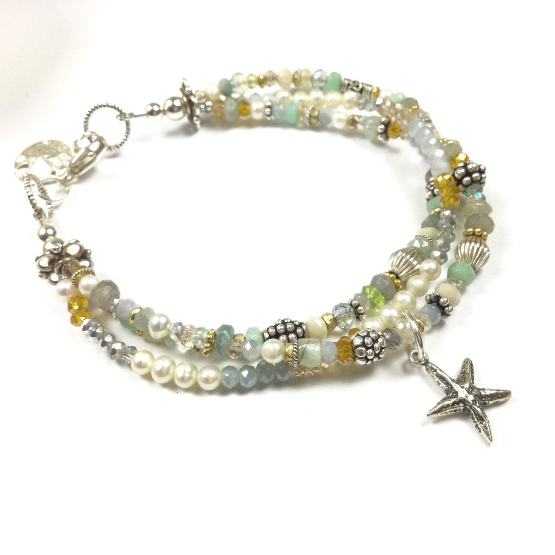 Starfish bracelet, multi strand bracelet, gemstone bracelet, sand dollar charm.  beach bracelet, starfish jewelry, , sand dollar bracelet