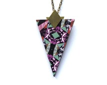 Triangle Geometric Necklace - Patterned Laser Cut Wood Geometric Jewellery Triangle Jewellery