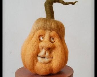 Halloween pumpkin, Needle felted pumpkin, Harvest and Thanksgiving decoration, Autumn decoration, OOAK soft sculpture