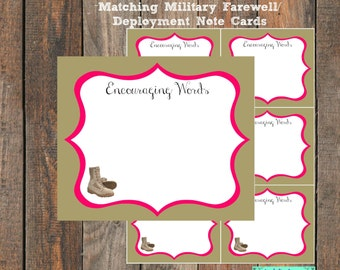 Encouraging Words Notecards for Military Going Away Party