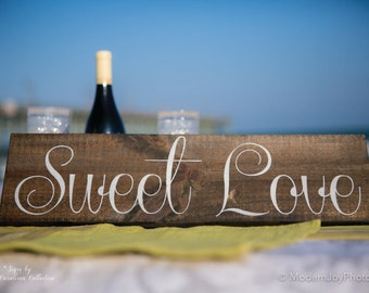 Sweet Love Wooden Wedding Sign - WS-190