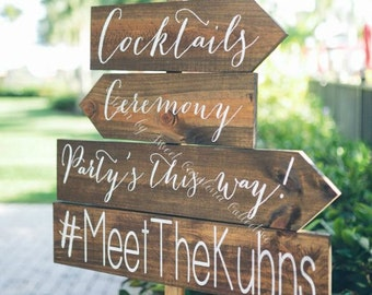 Wood Wedding Directional Signs - Set of 4