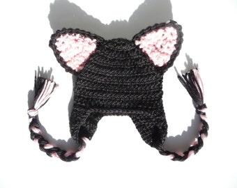 Black Cat Hat Crochet Earflap Hat Baby Earflap Hat Knit Hat Knit Baby Hat Knit Beanie Crochet Hat Crochet Baby Hat Photography Photo Prop