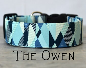 "Light Blue, Navy & Cream Modern Geometric Dog Collar ""The Owen"""