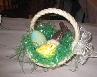 "Ceramic Easter basket, hand painted by Joan Davis, 8"" high"