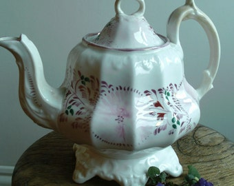 Beautiful pale pink and white Victorian lustreware teapot