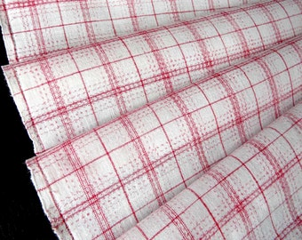 Vintage woven linen cotton fabric with Red gingham, check 1920s, excellent condition