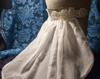 Pearls and Swirls Ivory Chiffon Veil