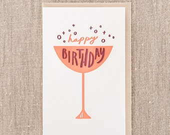 Happy Birthday Cup Letterpress Greeting Card