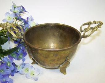 Brass Bowl with Handles Footed Brass Bowl