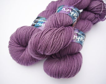Hand dyed yarn  Double knit  100% Superwash Merino - dusty purple