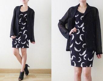 VTG sheer black chiffon long sleeve blazer,shawl cardigan, see through collar jacket, button up,cover up,layering, outerwear, formal, M-L-XL