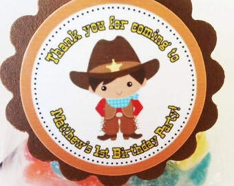 Personalized Little Cowboy Birthday Baby Shower Favor Tag