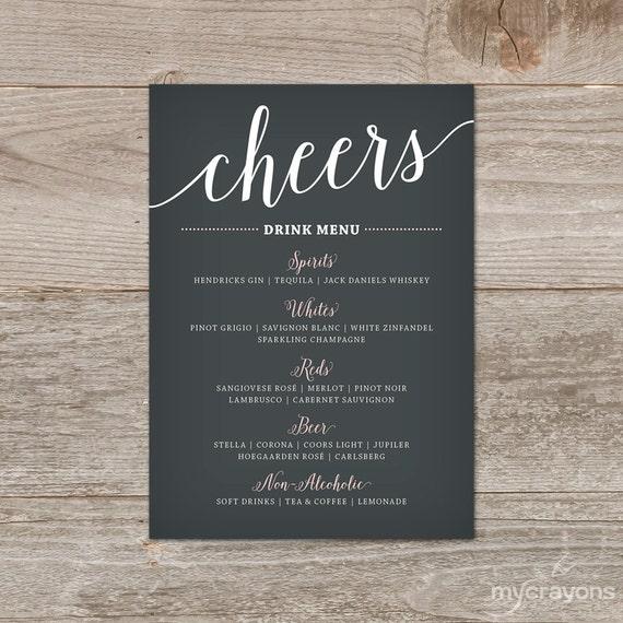 wedding drink menu template free - wedding drink menu printable bar menu wedding printable