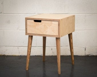Midcentury modern plywood bedside table