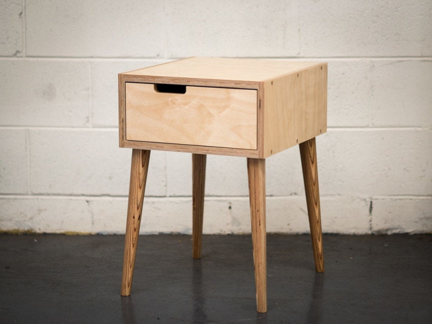 Midcentury modern plywood bedside table for Plywood bedside table