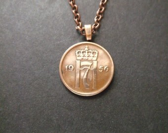 Norway 2 Ore Coin Necklace -  Norge 2 Ore Coin Pendant  - 1956 Norway Coin Necklace with Bail and Chain