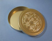 Trinket Box - Stash Box - Round Tin Container with Pewter Embossing on Lid