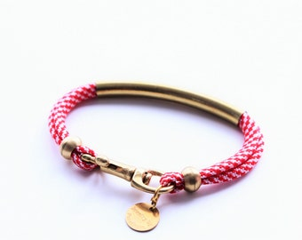 Gold Brass Tube Paracord Small Snap Hook Bracelet