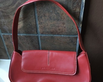 Red hard leather