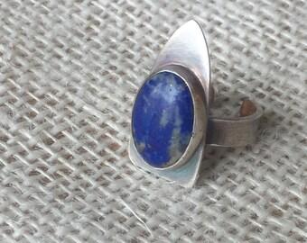 Lapis lazuli rocket ring
