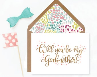 Hand-lettered Will You Be My Godmother Card; Pink, Turquoise and Green