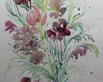 Original watercolour flower painting, flowers in a vase, bouquet of flowers, floral art, loose watercolor