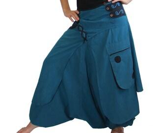 Turquoise Harem Pants Skirt -  Aladdin Trousers - Afghani - Rave - Psy - Women