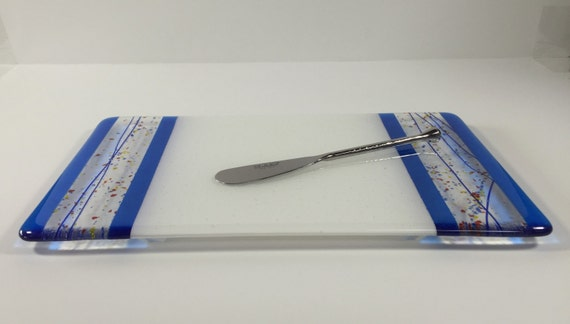 Fused Glass Serving Platter with Spreader