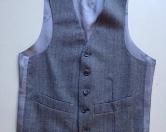 Vintage 1970's Gray Wool Herringbone Roger Stuart Suit Men's Vest - 36 regular